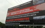 Espectacular colocado por los vecinos contra la pretensión de la empresa/Foto: Francisco de Luna