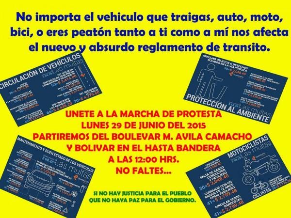 Invitan a todos sumarse contra el nuevo Reglamento de Tránsito del estado que impone multas muy lesivas a la población