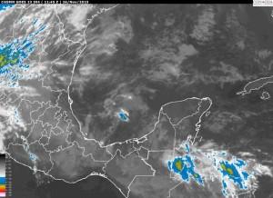 Condiciones para lluvias localmente fuertes (25 a 50 mm) en regiones montañosas de Veracruz y menores a 25 mm en Tamaulipas. Viento del Sureste en Tamaulipas y de componente Norte en Veracruz, en todos los casos de 15 a 25 km/h.