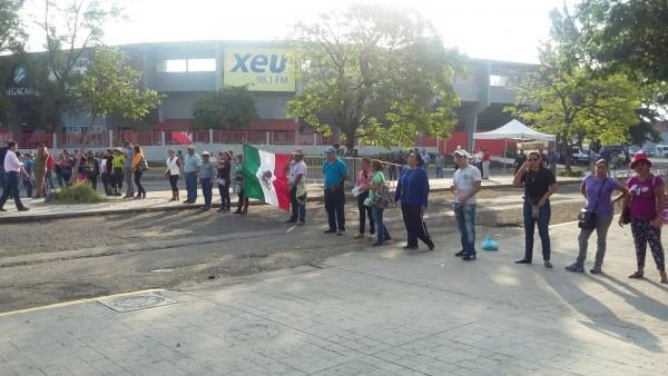 Protesta de profesores en el Puerto de Veracruz/Foto: Daniela Jácome-Plumas Libres