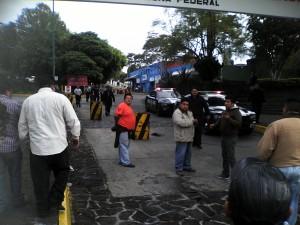 Elementos de la policía Federal llegaron a Caxa para intimidar a los taxistas/Fotover