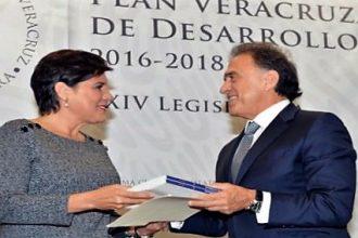 MAYL en la entrega del Plan Veracruzano de Desarrollo a la presidenta de la legislatura