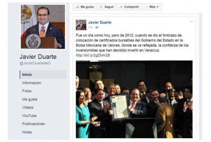 javier Duarte de Ochoa se burla de la PGR y demás autoridades al publicar en facebook información