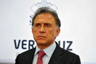 El Gobernador de Veracruz, Miguel Ángel Yunes Linares, durante la conferencia de prensa/Fotover