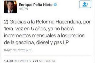 Enrique Peña Nieto anunciaba a través de las redes que no habría aumentos a los precios de gasolina y luz ¡mintió!