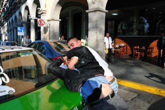 Los taxistas en plena lucha/Foto: Francisco de Luna